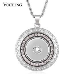 NOOSA Necklace Ginger Snap Jewelry Inlaid Crystal Stainless Steel Chain 18mm Round Pendant VOCHENG NN-507