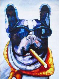 Framed DOG CIGAR SUN GLASSES street graffiti art, Hand Painted modern Decor Art Oil Painting On Canvas,Multi sizes Available graffiti C003.