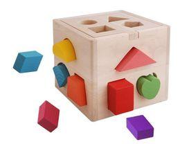 Wholesale Wooden Building Blocks Geometry Wooden Baby Building Blocks Holes Intelligent Box Shape Matching Building block Chilidren Educational Toy