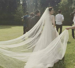 2016 White 1T 3M New White Ivory 1T 3M Wedding Bridal Long Veil Cathedral With Comb Length Bridal Veils