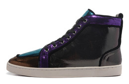 Hot Sale Genuine Leather Mens High Top Red Bottom Sneakers For Man Luxury Brand Designer Brand France Colorful Casual Shoes
