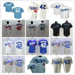 Wholesale Brooklyn LA Dodgers Cooperstown Jackie Robinson Throwback Gray Light Blue White Cream Black Los Angeles Baseball Jerseys By M N