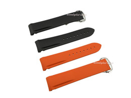 20mm New strap for clock orange and black rubber band deployment clasp buckle silicone watch band Planet-Ocean