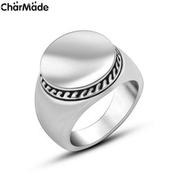 Wholesale Mens Stainless steel Round Top Ring for Dad Boyfriend Polished Silver Tone wide MC Biker jewelry Size to R724