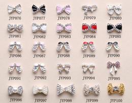 Wholesale Nail Art Tips Deco Bow Knot Alloy Jewelry Multicolor Glitter Rhinestone nail gel