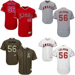 Wholesale Red grey white green Kole Calhoun Authentic Jersey Men s Los Angeles Angels Of Anaheim Flexbase Collection