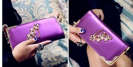 Descuento monederos de las señoras de color beige 2015 nueva carpeta coreana mayor cremallera grande alrededor del bolso de las señoras de la cartera de la cremallera del monedero del bolso de embrague 699
