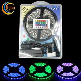 16.4FT 5M strip light SMD5050 RGB led strip lights waterproof 300 leds +24 KEYS Remote controller+ 12V 6A Power Supply