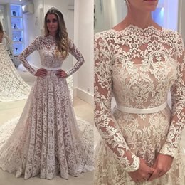 Robe De Soiree Long Sleeves 2017 Lace Wedding Dresses Arabic Lace Sheer Bateau Neck Custom Made See Through Back Bridal Gowns with Belt