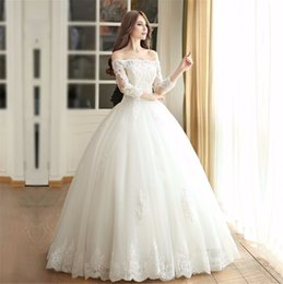 Wholesale 2016 Lace Ball Gown Wedding Dresses Boat Neck Sleeve Custom Made Plus Size Princess Bridal Gowns Best Quality