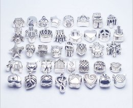 40pcs lot Mix Style silver plated Big Hole Loose Beads metal charms For Pandora DIY Jewelry Bracelet For European charms Bracelet&Necklace