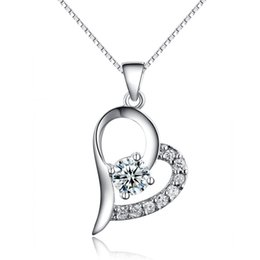 Wholesale New Hot Authentic Stealing Silver Pendant Necklace Swarovski Style Austrian Crystal CZ Diamond Fashion Jewelry Heart Love A94