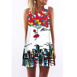 Wholesale Hot girl women lady a of balloons buildings group print sundress tank dress loose vest dress