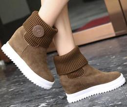 Promotion la conception de chaussures de couleur BIMUDUIYU Printemps Automne Femmes Bottes Hauteur Augmenter Inside Lady All Match Daily Chaussures Casual Solid Color Concise Design, size35-39