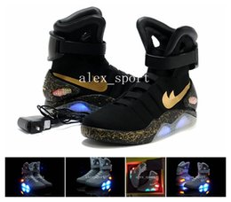 Wholesale 2016 Air Mag AKA Marty McFly Basketball Shoes Back To The Future Glow In The Dark Sole Mag Limited Edition Air Mags Sneaker Led Lights