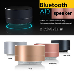 High quality Aluminum A10 bluetooth stereo speaker with LED light mini wireless portable subwoofers support handsfree FM radio TF card