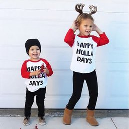 Wholesale hot selling Kids Toddler Baby Boy Girl Xmas Family Long Sleeve T shirt Tops Clothes HAPPY HOLLA DAYS funny letters printed cotton t shirt