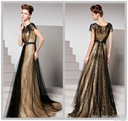Spring Black and Gold Sequin Plus Size Evening Gowns with Short Sleeves Vestidos Longo Beaded Tulle Sheer Formal Prom Dresses