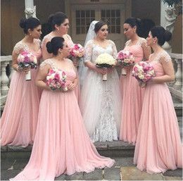 2016 Charming Pink Sweetheart Capped Sleeves Lace Chiffon Long Bridesmaid Dresses Maid of Honor Formal Evening Prom Gowns