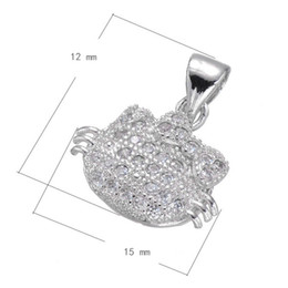 DIY Phone Rope Charm Cat Head Cubic Zirconia Micro Inlay Copper Pendant Platinum Plated 12x15mm Hole:3.6mm 10 PCS Lot Free Shipping