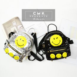 Wholesale CMK KB164 Cute Emoji Smiley Face Backpack Black and Silver Sequence Material for Girls Kids Fashion School Bags Children Bag Two Colors