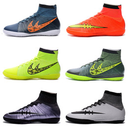 Wholesale Mens MercurialX Proximo IC Soccer Shoes Elastico Superfly Indoor Soccer Cleats Football Boots Shoes Cleats Chuteira Futebol Society Online