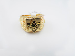 Wholesale hip hop rings high quality k real gold plated Hip Hop men s Punk style Rap freemason rings Gold Finger Mason Ring men
