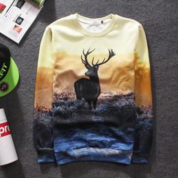 2016 Men's Fashion Couple Bucks 3D Printed Crewneck Sweater New Men's Sweater Hot Sale Fleece Long Sleeve