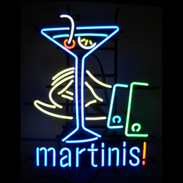 martini Real Glass Neon Light Sign Home Beer Bar Pub Recreation Room Game Room Windows Garage Wall Sign