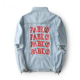 Kanye West The Life Of Pablo Man Jacket Denim Letter Print Ripped Hole Vintage Washed Outerwear Fashion Men Brand Clothing