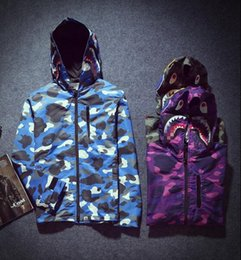 Wholesale 2016 new thin section blue green camouflage color purple windbreaker Foreign trade big yards personality shark head coat gymshark coat