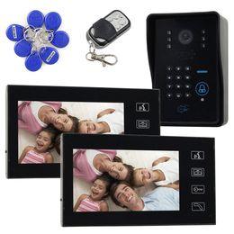 4 en 1 caméra infrarouge 7inch LCD vidéo sonnette porte interphone de téléphone avec code clavier Lecteur RFID télécommande 1V2 à partir de porte le code d'interphone fabricateur