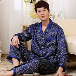 Wholesale-2016 New Luxurious Silk Satin Pajamas Set Men Long Sleeve Trousers Sleepwear Mens Silk Pyjamas Set Plus Size 3XL