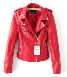 Wholesale-Leather jacket red black jacket new 2016 bomber motorcycle Leather jackets women 2 color brand jacket jaqueta couro