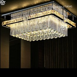 Wholesale Rectangular LED crysal chandelier new projects installed on the ceiling of the hall chandelier crystal lamp to promote sales