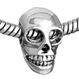 2017 Halloween Day Skull bead in Rhodium Plating European Charm Fits Pandora European DIY fashion Bracelet