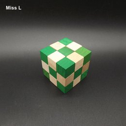 Kong ming Lu ban Wooden Lock Puzzle Toy 3D Cube Dragon Lock Green Blocks Kid Gift
