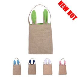 Wholesale New Hot Kids Easter Gift Bag Colors Rabbit Ears Shaped Handbags For Women Creative Large Bunny Ears Women Totes Canvas Shopping Bags