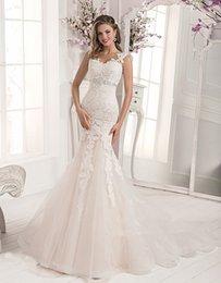 Wholesale Tiaras de casamento para noivas Ivory Full Lace Mermaid Wedding Dresses Bandage Beads Bridal Gowns Court Train Dantel gelinlik