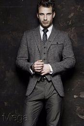 Tailored Made Herringbone Wool tweed tuxedos Three-piece British style custom made Mens suit slim fit Blazer wedding suits for men