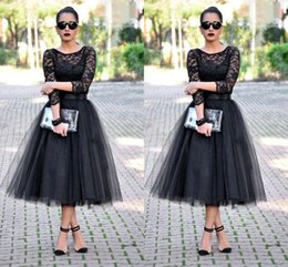 Cheap 2016 Tea Length Evening Dresses 3 4 Long Sleeves Jewel A Line Black Evening Gowns Lace Long Wedding Party Dresses