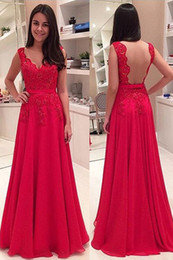 Sexy Design A Line V Neck Floor Length Red Chiffon Backless Prom Dresses With Appliques Lace Low Price Evening Party Gowns With Sleeveless