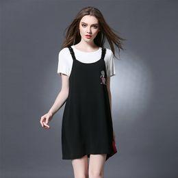 Wholesale XL XL fashion large size skirt slim thin loose Short sleeved T shirt vest two piece sexy Plus size women dress casual dress suit