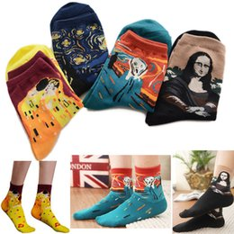 Wholesale Europe and America to Van gogh Restore Socks ancient ways the Mona Lisa in an abstract painting female socks Ms cotton socks