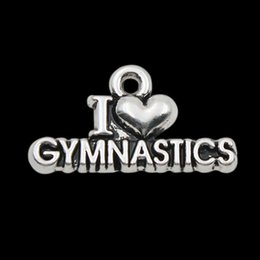 Wholesale Hot Antique Silver Plated I Love Gymnastics Vintage Alloy Letter Charms mm AAC157