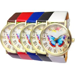 Fashion Luxury Woman Butterfly Design PU Leather Band Analog Quartz Casual Watches Brand New Woman Watch