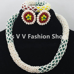 2018 single beige teal white necklace earrings Sets nigerian wedding african Chokers Gold statement Necklaces women jewelry Christmas gift