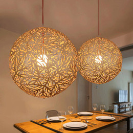 Wholesale 2016 Hot Sale Home Decor Personality Country Bamboo Weaving Pendant Lights Restaurant Study Bedroom Bar Lamp