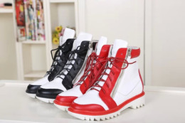 2016 Mixed Color Lace-up Sport Sneakers Short Ankle Boots for Women Shoes Genuine Leather Motorcycle Boots Sz 35-40