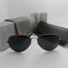 Wholesale New Luxury Glasses Set Men Women Designer sunglasses aviators Glass lenses High Quality Pilot mirror with original case box